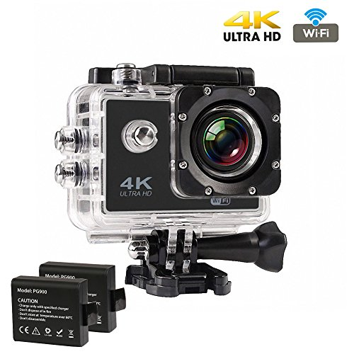 Action Kamera Wasserdicht 4K, CrazyFire Action Cam WiFi, Ultra Full HD 16MP Helmkamera Skifahren 170 Grad Weitwinkelobjektiv Wasserdichte mit 2 Batterien, Zubehör Kits