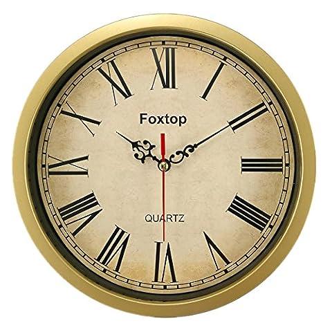 Horloge Mmurale Vintage, Foxtop 8 pouces Retro Pendules Murales Temps Décoratif, 20 cm