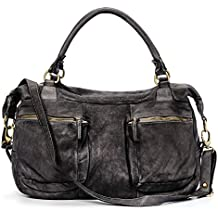 Ira del Valle, Bolso para mujer, Piel genuina, Vintage, Modelo Coast to Coast, Made in Italy