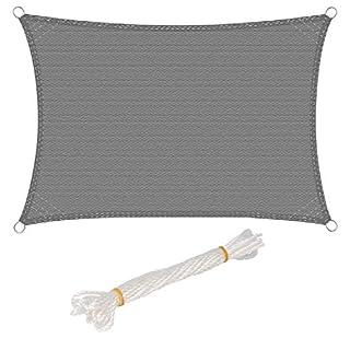 WOLTU Sonnensegel Rechteck 4x5m Grau atmungsaktiv Sonnenschutz HDPE Windschutz mit UV Schutz für Garten Terrasse Camping