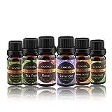 Ätherische Öle COOSA Aromatherapie Duftöl 6 verschieden Aromen Teebaumöl, Pfefferminzöl, Zitronenöl, Lavendelöl, Orangenöl, Rosenöl für Aroma Diffusor je 10ML (10ML*6 Flaschen)