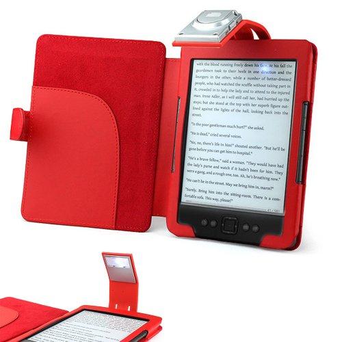 ForeFront Cases® Custodia in similpelle con LUCE rosso - per Nuovo Amazon Kindle 4 Schermo da 6
