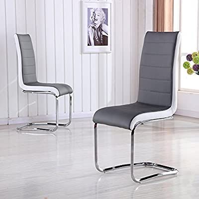 2X Stylish Faux Leather Grey Dining Chair Metal Seat Kitchen High Back Chrome - inexpensive UK light store.