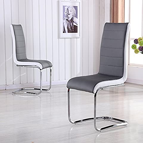 Schindora® Faux Leather Dining Chairs with High Back and Chrome Legs (4 chairs)