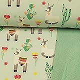Softshell Stoff Happy Alpakas Mint - Preis Gilt für 0,5