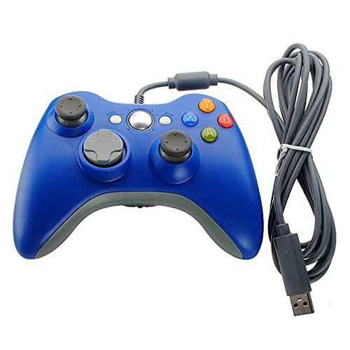 Xbox 360 Game Controller USB Wired Gamepad Game Joystick Joypad for Microsoft & Windows PC (Blue) (Xbox Joystick 360 Pc)