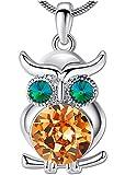 ANEWISH Schmuck Lebensecht Eule Anhänger Halskette für Frauen Mädchen Teen Lady mit Kristall Einzigartig Beste Geschenk