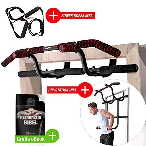 Sportstech Premium Kombi-Paket! 6in1 Klimmzugstange inkl Dip Bar & Power Ropes, Türreck für Türrahmen ohne Bohren, Pull-Up Bar für Crossfit Krafttraining Zuhause, KS600 multifunktional + GRATIS eBook