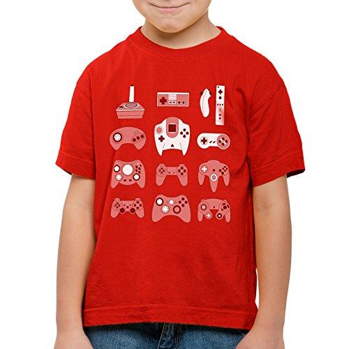 style3 Game Pad T-Shirt für Kinder controller videospiel spielekonsole, Farbe:Rot;Größe:140