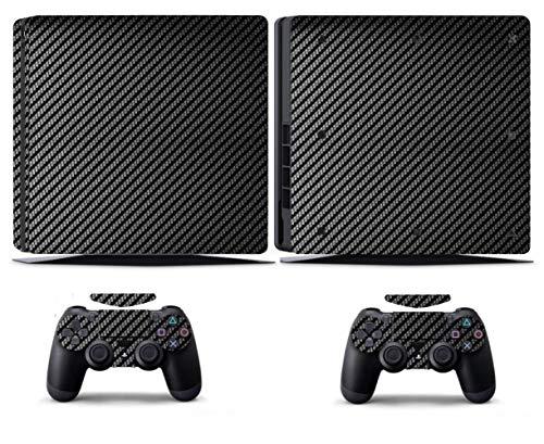 NOLOGO MXL-Aufkleber Black Carbon Fiber PS4 dünne Haut PS4 dünner Aufkleber Vinly Haut Aufkleber for Sony PS4 nehmen Playstation 4 Schlanke und 2 Controller Skin