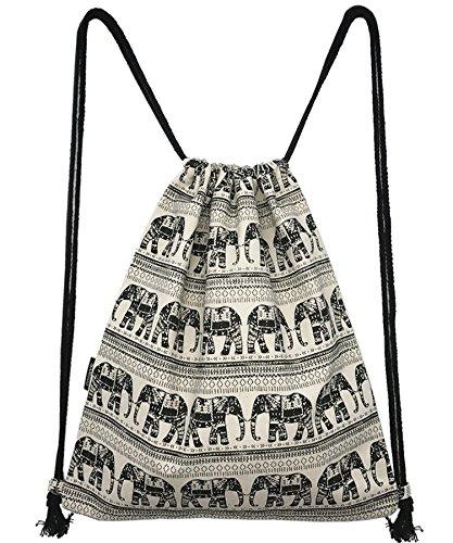 Imagen de samgoo hipster lona  gym saco turn bolsa bolsa bolsa de deporte, estilo étnico elefante geométrico turn bolsa bolsa  hipster para viajes/deportes blanco/negro