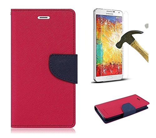 Samsung Galaxy Grand Prime SM-G530H Mercury Flip Wallet Diary Card Case Cover (Pink/Blue+Tempered) By Mobile Life  available at amazon for Rs.219