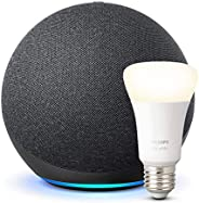 Der neue Echo (4. Generation), Anthrazit + Philips Hue White LED-Lampe