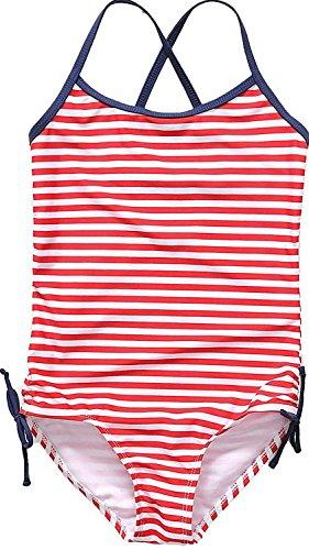 Attraco Mädchen Badeanzug Streifen Bademode Spaghetti Träger Einteiler Rot 134 / 8-9 Jahre Herstellergröße 10