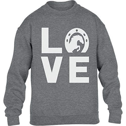 Love Pferde - Süßes Geschenk für Pferde Liebhaber Kinder Pullover Sweatshirt L 134/146 Grau