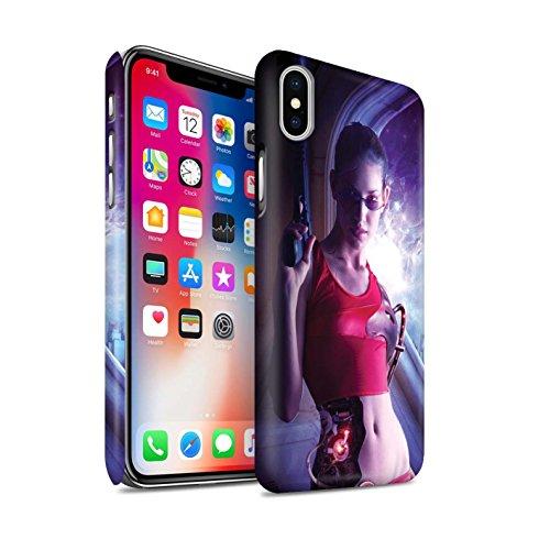Officiel Elena Dudina Coque / Clipser Matte Etui pour Apple iPhone X/10 / Ange Gardien Design / Super Héroïne Collection Cyborg