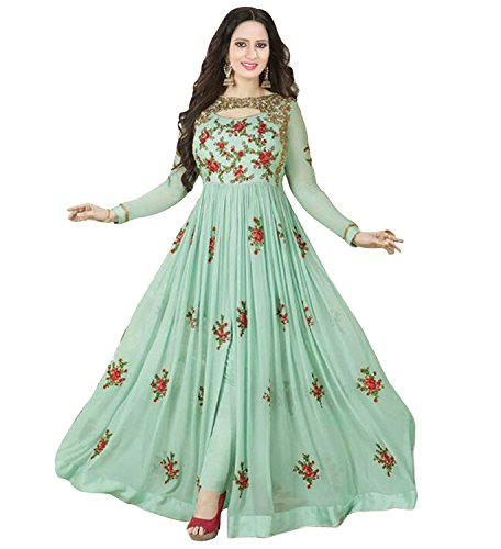 RTHub Women's Georgette Embroidered Semi Stitched Anarkali Salwar Suit (Sky-Blue_Free-Size_Aone-Sky-Blue)