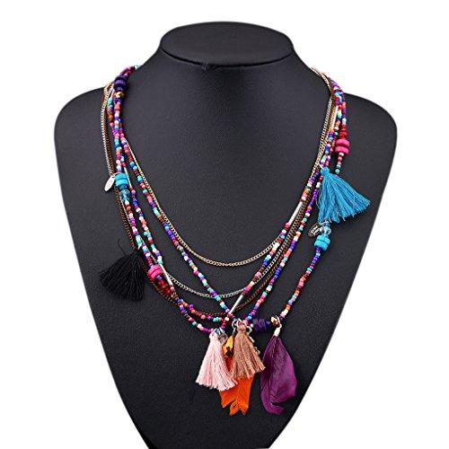 LUFA Perles en forme de perles de perles en alliage pendentif multicolore long coll