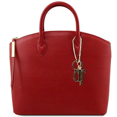 81412614-KL - TUSCANY LEATHER: TL KEYLUCK -N- Sac cabas en cuir Saffiano - Moyen modèle, rouge