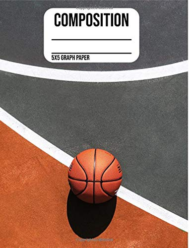 Composition Notebook: Basketball: 5X5 Graph Paper School Notebook 100 Sheets 200 Pages (7.44 x 9.69) por One Source Books