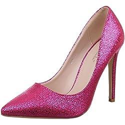 Damen Schuhe, 9110, PUMPS, HIGH HEELS, Synthetik in hochwertiger Lederoptik , Pink, Gr 36