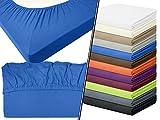 Jersey-Spannbetttuch in Top-Qualität - mit einer Steghöhe von ca. 35 cm - 100% Baumwolle - erhältlich in 6 verschiedenen Größen und 12 ausgesuchten Farben, 1 Stück - Jersey-Spannbetttuch ca. 120 x 200 cm, royal