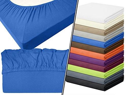 Preisvergleich Produktbild Jersey-Spannbetttuch in Top-Qualität - mit einer Steghöhe von ca. 35 cm - 100% Baumwolle - erhältlich in 6 verschiedenen Größen und 12 ausgesuchten Farben, 1 Stück - Jersey-Spannbetttuch ca. 90-100 x 200 cm, royal