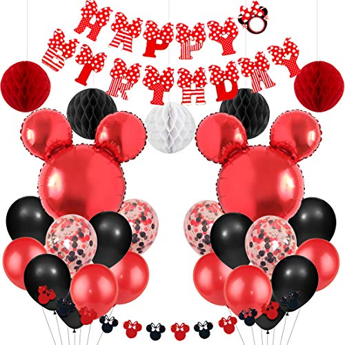 Jollyboom Mickey und Minnie Mouse Party Supplies rot und schwarz Minnie Mouse Girlande Luftballons Alles Gute zum Geburtstag Banner für Jungen Mädchen Geburtstag Baby Shower (Mickey Und Minnie Maus Geburtstag Party Supplies)
