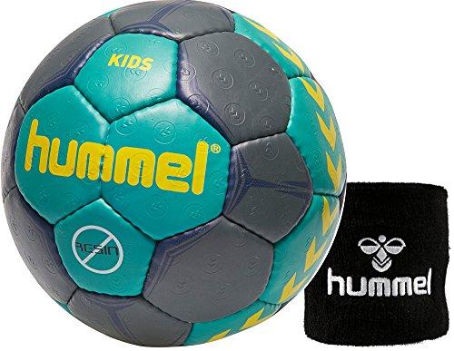 Hummel Kinder Handball KIDS 91792 (Farbe mint/magenta oder blue/orange wählbar) Größe 00/0/1 im Set mit Schweißband Old School Small Wristband 99015 (schwarz) (Viridian/Ombre Blue/Yellow (8711), 1)