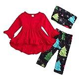 Janly Kleinkind Baby mädchen Weihnachten Weihnachten bäume Kleider drucken Hosen schal Kleidung Sets Langärmliges Weihnachtskleid für Kinder + Bedruckte Hose + Dreiteiliger Schal (100, Rot)