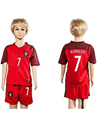 Top vente Portugal 7 Cristiano Ronaldo Home pour enfants Kid Enfant Football Soccer Jersey en rouge