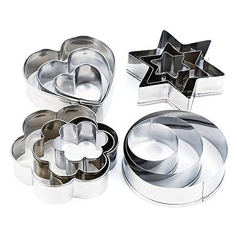 Lanlan DIY Zucker Craft Dekorieren Silber Werkzeug 12PCS SET EDELSTAHL Kuchen Backen Form
