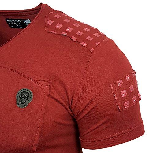 HERREN T-Shirts Druck Größe S M L M XL XXL kurzarm Text RN15103 Bordo