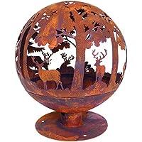 Esschert Design Fallen Fruits Oxidised Woodland Globe Speher Fire Pit Basket Bowl Cast Iron