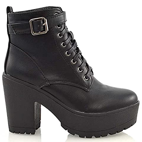 Ladies Chunky Cleated Platform Sole Womens Retro Goth Combat Lace Up Ankle Boots (UK 3 / EU 36 / US 5, Black Synthetic