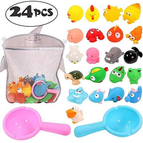 Tacobear 24 Piezas Juguetes Baño Bebe Juguetes Bañera Animales Juguetes Baño Niños con Organizador Juguetes baño