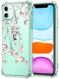 Oihxse Cristal Compatible con iPhone 12 Mini 5.4'' 2020 Funda Transparente TPU Silicona Estuche Airbag Esquinas Anti-Choque Anti Rasguños Diseño Rosa Flower Caso (Flores B7)