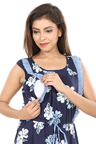 9teenAGAIN Women s Cotton Printed Nursing Nighty (Blue Medium) - Gia ... 0177c03c0