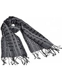 """Nella-Mode Eleganter feiner Wollschal; Schal mit modernem Lochmuster, Grautöne & Anthrazit; ein """"Hingucker""""-Schal für die Übergangszeit Damenschal Herrenschal, 100% Wolle ca. 195x40cm (inkl. Fransen)"""