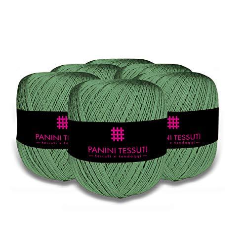 Panini tessuti confezione 6 pezzi gomitoli filo da ricamo per uncinetto titolo 8 100% cotone 100 gr