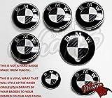 Schwarz & Weiß Kohlenstofffaser Abzeichen Emblem Vinyl Überzug Aufkleber Bezüge für BMW Haube Koffer Felgen Räder für Alle BMW Serie 1 2 3 4 5 6 7 X1 X2 X3 X4 X5 X6 Z1 Z3, Z4, Z8, M Sport, X-Drive