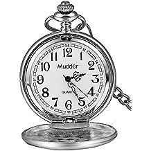 Regalo de Navidad clásico Lisa Vintage plata acero Mens Pocket Watch