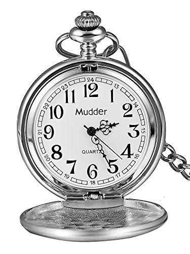 6 - Regalo de Navidad clásico Lisa Vintage plata acero Mens Pocket Watch