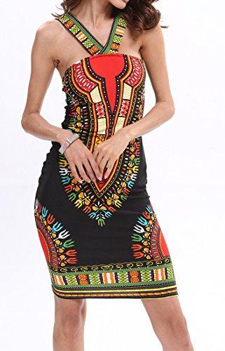Yue Lian Damen Neckholder Partykleid Ärmellos Sommerkleid Rückenfrei Aztekisch Strandkleid Rückenfrei Paisley Urlaubskleid Knielang Schwarz