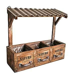 blumenkasten aus holz mit 3 f chern und dach zum aufh ngen nature blumenkasten blumentopf. Black Bedroom Furniture Sets. Home Design Ideas