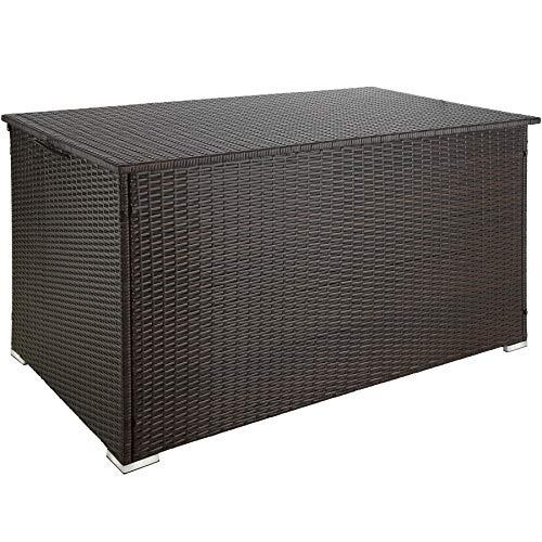 TecTake 800715 Aluminium Polyrattan Auflagenbox, wetterfeste und rostfreie Konstruktion, mit Gasdruckfedern, 950 Liter, 145 x 82,5 x 79,5 cm - Diverse Farben - (Braun | Nr. 403275)