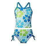 YiZYiF Mädchen Tankini Sets Bikini Badeanzug Blumen Muster Top mit Slip Badeshorts Badekleidung Gr. 98 104 116 128 140 152 164 Blau 152