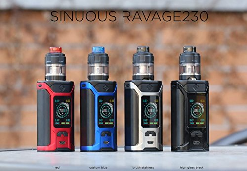 Wismec Sinuous Ravage 230 with Gnome Evo Tank (4 ml) - Entworfen in den USA , Mit solidem 1,45 Zoll Farbdisplay - Kein Nikotin (Pinsel Silber + 1 Packung Coils)