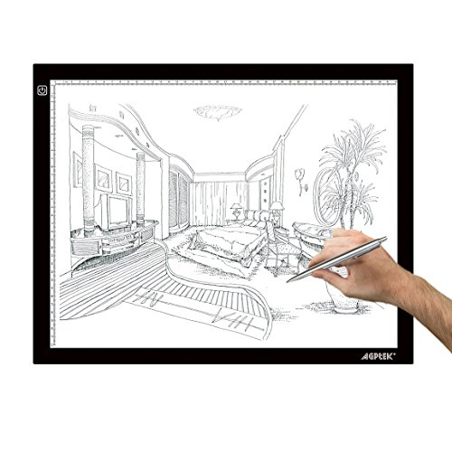AGPtek LED Leuchttisch A3 Light Pad Leuchtkasten LED Licht Tracer Artcraft Tracing Pad Light Box Ultra Slim USB-Kabel Helligkeit verstellba Tatoo Pad Aniamtion zum Zeichnen