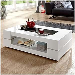 couchtisch wei hochglanz mit glasplatte sera 120x70cm glastisch k che haushalt. Black Bedroom Furniture Sets. Home Design Ideas